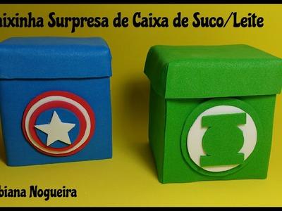 Caixinha Feita com Caixa de Leite ou Suco Super Heróis - Tutorial