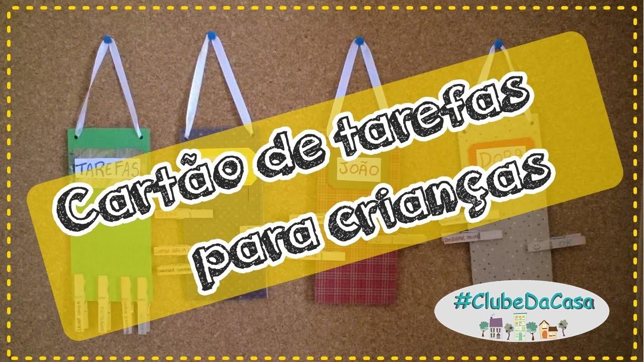 Cartão de tarefas domésticas para crianças  #clubedacasa