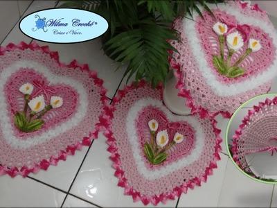 Jogo de Banheiro Coração Tapete de Pia 1.2 # Wilma Crochê
