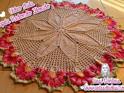 Tapete Redondo Florido de Crochê