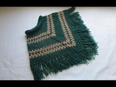 Crochê Poncho Verde
