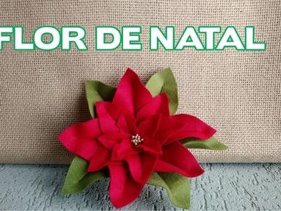 Enfeites de Natal - Flor de Feltro de Natal - Passo a Passo
