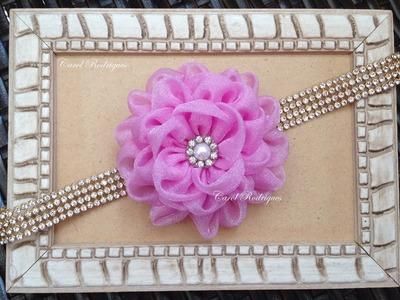 Flor de Organza - Linda e Fácil!!! Passo a passo simples - Easy Fabric Flower