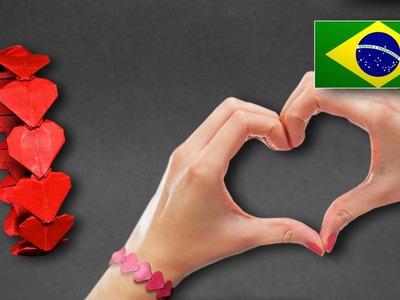 Origami: Bracelete. Pulseira de Coração ( Henry Pham  ) - Instruções em Português PT BR