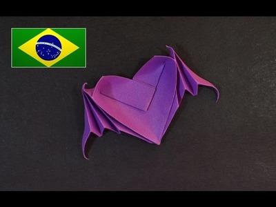Origami: Coração com asas de morcego ( Riki Saito ) - Instruções em português PT BR