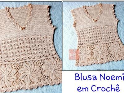 Versão canhotos: Blusa Noemi em Crochê (1° parte explicação ) # Elisa Crochê