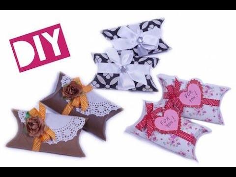 Cajitas para regalo hechas con rollo de papel higiênico
