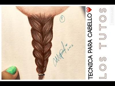 COMO DIBUJAR CABELLO TRENZA TECNICA - how to draw hair