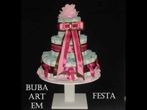 Como Fazer 1 Lindo Bolo de Fraldas - fake cake diaper