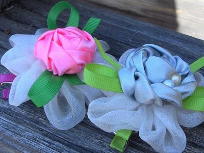 Dupla rosa de Organza e fitas de cetim  -Pink satin ribbons