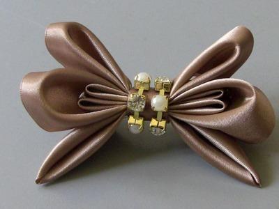 Laço de fitas com dobras e strass Passo a Passo - -D.I.Y ,PAP -Satin ribbon bow