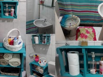 Organizando meu banheiro com caixotes de feira!!!