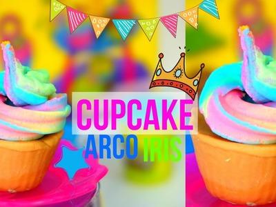 COM FAZER CUPCAKE ARCO IRIS. Play Doh Rainbow Frosting Cupcake Super Easy