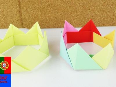 Como fazer uma coroa com dobradura   Origami para festas   Para brincar de princesa