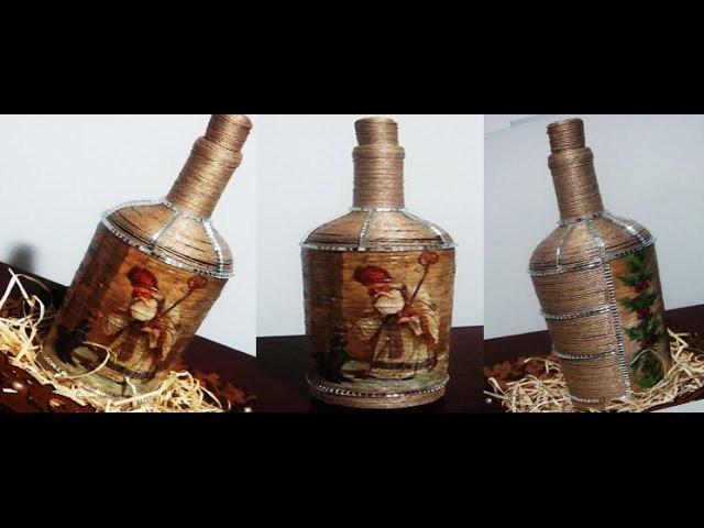Decoupagem em garrafa decorada com juta e micro espelhos (Passo a Passo)