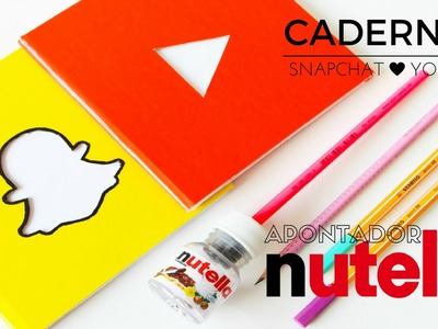 DIY MATERIAL ESCOLAR APONTADOR NUTELLA, CADERNOS. DIY SCHOOL  SUPPLIES