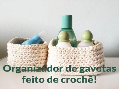 Organizador de gavetas feito de crochê!