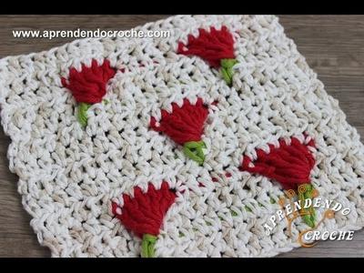 Ponto de Crochê Tulipas - Aprendendo Croche