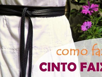 Cinto faixa em tecido - modelo 2 (obi belt): como fazer e amarrar (DIY Tutorial) - VEDA#9
