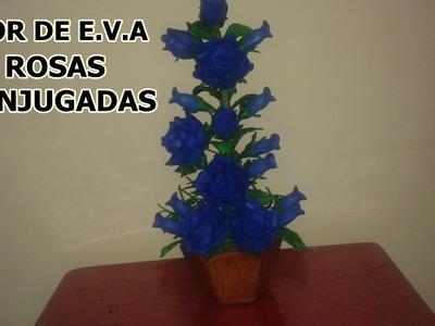 Flor de e.v.a ROSAS CONJUGADAS AZUIS
