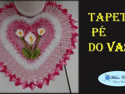 Jogo de Banheiro Coração Tapete Pé do Vaso # Wilma Crochê