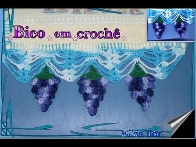 Passo a passo como fazer bico em crochê com fruta - uva modelo 49