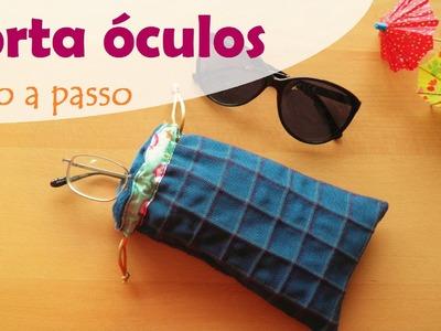Porta óculos com fechamento em cordões de cetim e matelassê com nervuras (DIY Tutorial) - VEDA#28