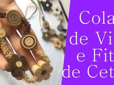 DIY: Cordão. Colar com Viés e Fita de Cetim | GATutoriais