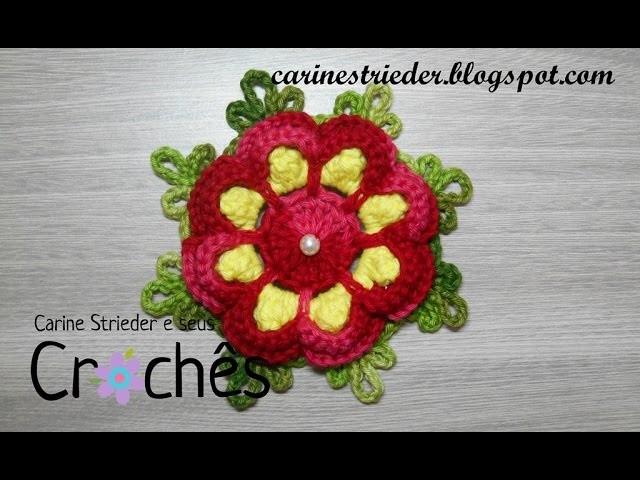 Flor Pingo de Amor em crochê por Carine Strieder