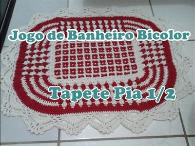 """Jogo de Banheiro Bicolor  """"Tapete da Pia"""" Parte 1"""