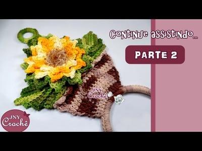 Porta pano de prato vaso de Girassol (Parte 2) - JNY Crochê