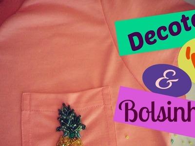 Quase Básico - Costura de Baby Look com Decote 'V' Sobreposto e Bolsinho.