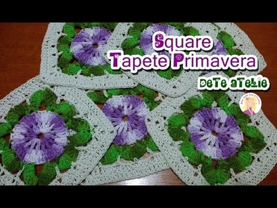 Square de crochê para Tapete Primavera #parte1