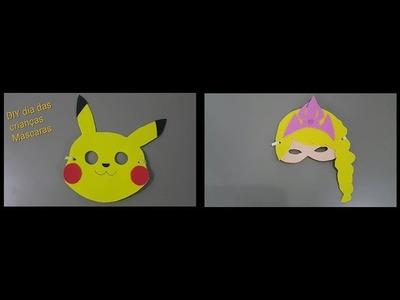 DIY dia das Crianças máscara pikachu e Elsa