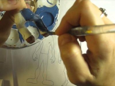 Tutorial Modelando e Pintando Calça Jeans em biscuit