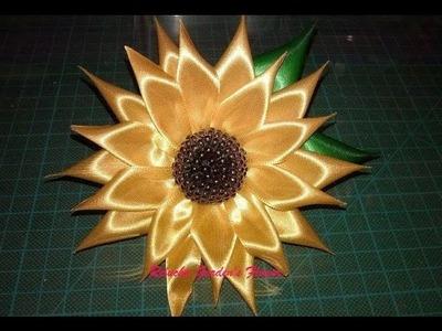 #24 - Flor  GIRASSOL de Cetim. DIY - Satin Flower.Fiore di Raso.kanzashi.Satin-Blume.サテン花