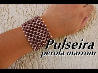 NM Bijoux - Pulseira pérola marrom