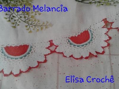 Versão canhotos: Barrado melancia em crochê # Elisa Crochê