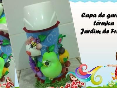 Capa para garrafa térmica Jardim de frutas - Profª. Ana Carolina Trevisol