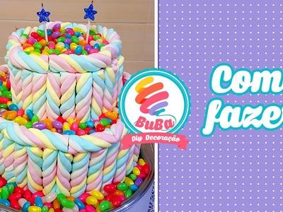 Como Fazer Bolo falso de Marshmallow - cake fake marshmallow Fini
