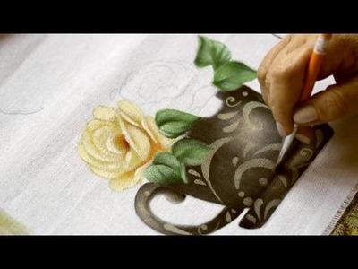 Pintura em tecido - Xícara Preta.
