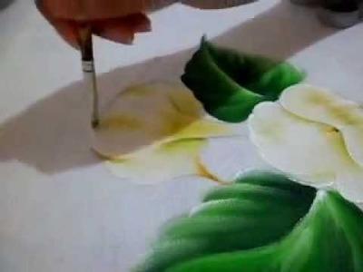 Como pintar Copo de Leite e sua folha.