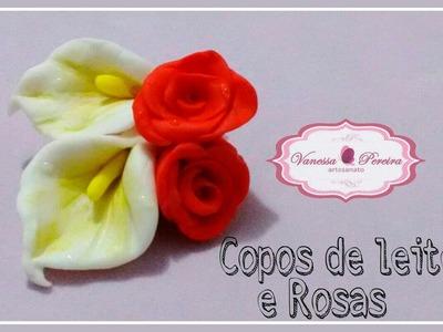 Copos de leite e Rosas em biscuit (4ª aula para iniciantes)