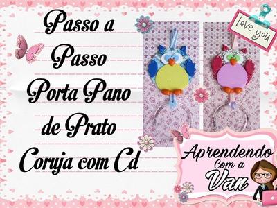 (DIY) PASSO A PASSO PORTA PANO DE PRATO CORUJA COM CD - Especial Dia das Mães #14