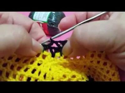 Short listrado em crochê (P) Moda Praia  - Cós - última parte