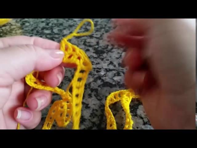 Short listrado em crochê (P) Moda Praia  - 1 parte