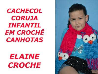 CACHECOL CORUJA INFANTIL CROCHÊ CANHOTAS