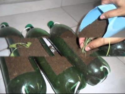 Horta em Garrafas Pet - Horta vertical. Garden in Pet Bottles - Passo a passo - Faça você mesmo!