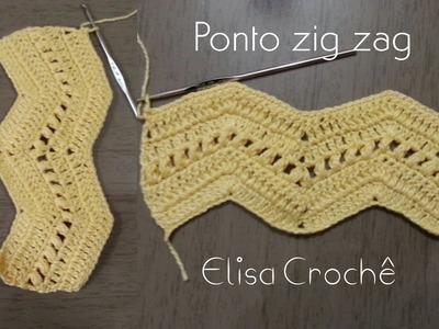 Versão canhotos: Ponto zig zag diferente # Elisa Crochê
