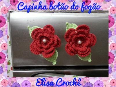 Versão destros :Capinha para botão do fogão flor moranguinho em crochê # Elisa Crochê